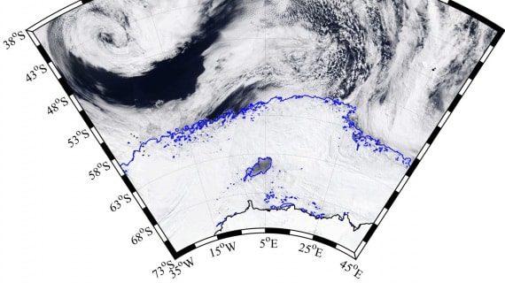 Immagine satellitare della polinia nel Mare di Weddell - NASA