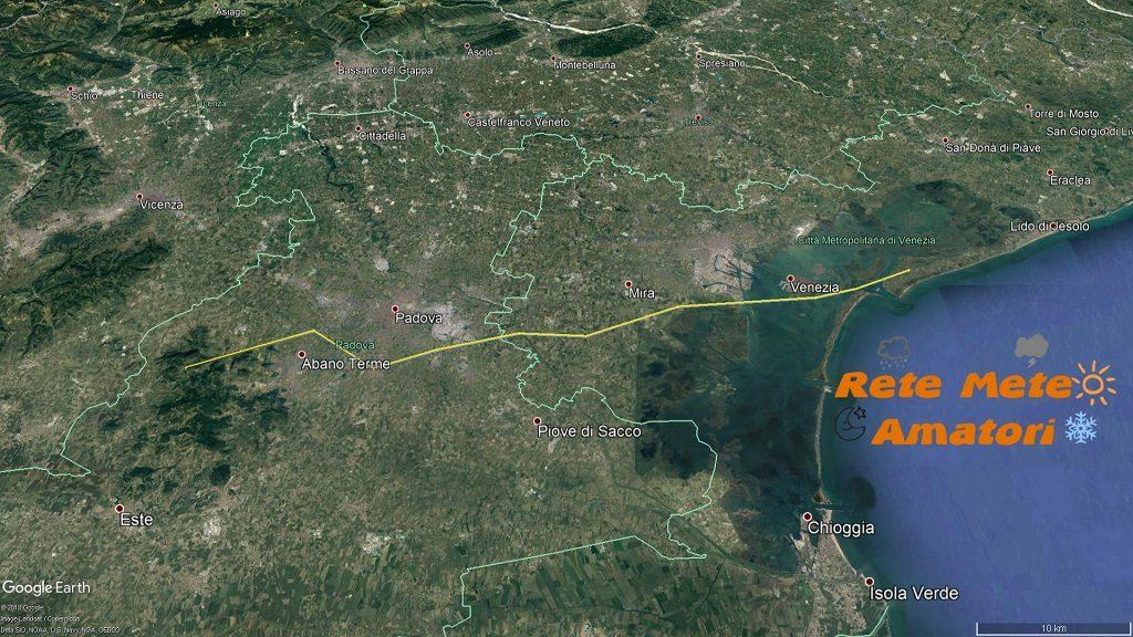 Ricostruzione del percorso fatto dal tornado - Rete Meteo Amatori
