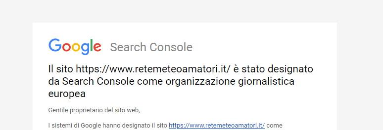 Rete Meteo Amatori è stato designato da Google come Organizzazione Giornalistica Europea