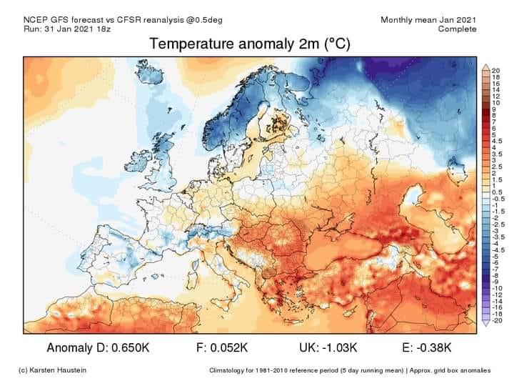 Anomalie termiche per Gennaio 2021