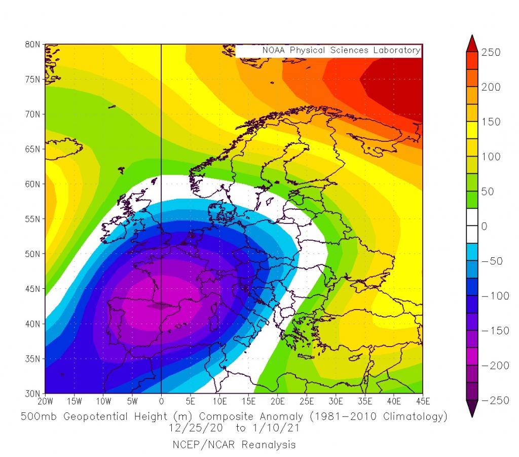 Anomalie di geopotenziali da Natale 2020 al 10 Gennaio 2021