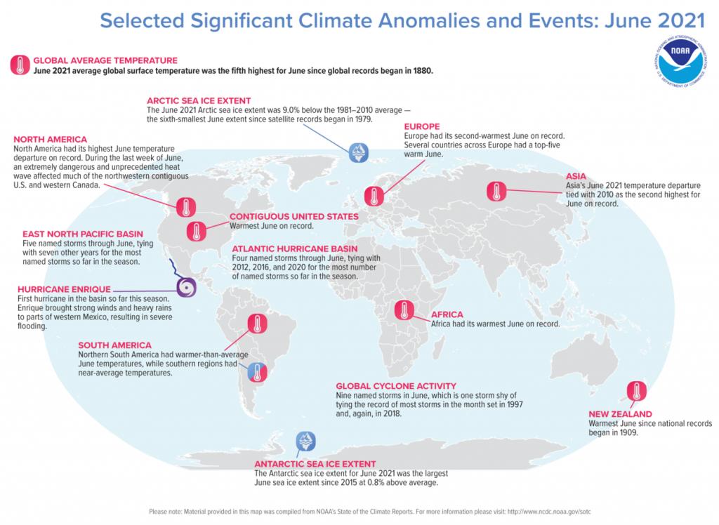 Giugno 2021, il 5° più caldo di sempre a livello mondiale