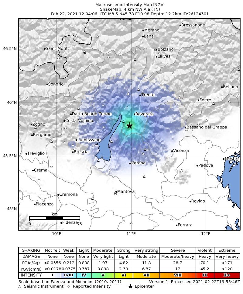 Terremoto ad Ala Trento 22 Febbraio 2021